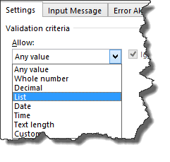 how to create down down list in excel